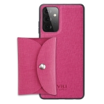For Samsung Galaxy A52 5G ViLi T Series TPU + PU Woven Fabric Magnetic Protective Case with Wallet(Rose Red)