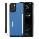 Armor Shockproof TPU + PC Hard Case with Card Slot Holder Funtion For iPhone 12 Pro Max(Black Blue)