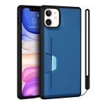Armor Shockproof TPU + PC Hard Case with Card Slot Holder Funtion For iPhone 11(Black Blue)