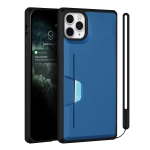 Armor Shockproof TPU + PC Hard Case with Card Slot Holder Funtion For iPhone 11 Pro(Black Blue)