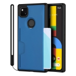 For Google Pixel 4a Armor Shockproof TPU + PC Hard Case with Card Slot Holder Funtion(Black Blue)