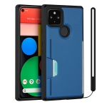 For Google Pixel 5 Armor Shockproof TPU + PC Hard Case with Card Slot Holder Funtion(Black Blue)