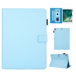Hair Silky Texture Solid Color Horizontal Flip Leather Case with Holder & Card Slots & Photo Frame & Anti-Skid Strip For iPad 9.7 2018 / 2017(Blue)