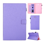 Hair Silky Texture Solid Color Horizontal Flip Leather Case with Holder & Card Slots & Photo Frame & Anti-Skid Strip For Samsung Galaxy Tab A 10.1 / T580(Purple)