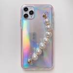 Laser TPU Protective Case with Pearl Bracelet For iPhone 12 Pro Max
