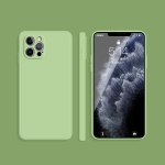 Solid Color Imitation Liquid Silicone Straight Edge Dropproof Full Coverage Protective Case For iPhone 12 Pro(Matcha Green)