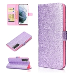 For Samsung Galaxy S21 FE Glitter Powder Horizontal Flip Leather Case with Card Slots & Holder & Photo Frame & Wallet(Purple)