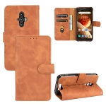For Blackview BV6600 Solid Color Skin Feel Magnetic Buckle Horizontal Flip Calf Texture PU Leather Case with Holder & Card Slots & Wallet(Brown)