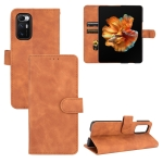 For Xiaomi Mi Mix Fold Solid Color Skin Feel Magnetic Buckle Horizontal Flip Calf Texture PU Leather Case with Holder & Card Slots & Wallet(Brown)