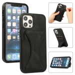 Ultra-thin Shockproof Protective Case with Holder For iPhone 12 Mini(Black)
