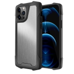 Stainless Steel Metal PC Back Cover + TPU Heavy Duty Armor Shockproof Case For iPhone 12 Pro Max(Brush Silver)