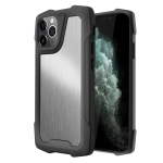 Stainless Steel Metal PC Back Cover + TPU Heavy Duty Armor Shockproof Case For iPhone 11 Pro(Brush Silver)