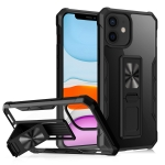 Clear Acrylic + Shockproof TPU Magnetic Protective Case with Invisible Holder For iPhone 11(Black)