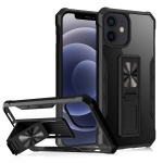 Clear Acrylic + Shockproof TPU Magnetic Protective Case with Invisible Holder For iPhone 12 / 12 Pro(Black)