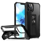Clear Acrylic + Shockproof TPU Magnetic Protective Case with Invisible Holder For iPhone 12 Pro Max(Black)