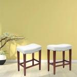 [US Warehouse] 2 PCS Home Living Room Leather Barstool, Size: 50.5×33.5×66.5cm (White)