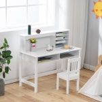 [US Warehouse] 2 in 1 A-style Painted Wooden Student Desk with Book Holder & Storage Shelf + Chair Set