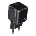 USAMS US-CC140 T42 25W Super Si PD Fast Charger, Plug Type: EU Plug(Black)