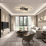 [US Warehouse] Warm White LED Circular Line Chandelier Height Adjustable Ceiling Hanging Lamp, Size: 27.7 x 27.6 x 2.6 inch