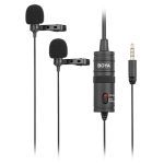 BOYA BY-M1DM Universal 3.5mm Plug Dual Omni-directional Lavalier Microphone, Cable Length: 4m