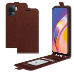 For OPPO A94 4G / F19 Pro / Reno5 Lite R64 Texture Single Vertical Flip Leather Protective Case with Card Slots & Photo Frame(Brown)