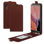 For Samsung Galaxy Xcover 5 / Xcover 5S R64 Texture Single Vertical Flip Leather Protective Case with Card Slots & Photo Frame(Brown)