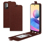 For Xiaomi Redmi Note 10 5G R64 Texture Single Vertical Flip Leather Protective Case with Card Slots & Photo Frame(Brown)