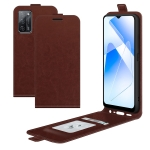 For OPPO A55 5G R64 Texture Single Vertical Flip Leather Protective Case with Card Slots & Photo Frame(Brown)