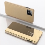 For OPPO Realme C20 Plated Mirror Horizontal Flip Leather Case with Holder(Gold)