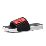 Men Fashion Outdoor Slippers Antiskid Soft Sole Beach Shoes, Size: 46-47(Black Red)