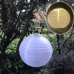 26 LM Outdoor Solar White Lantern Hanging Lamp Wedding Festival Celebration Lantern Courtyard Decorative Light(Warm Light)