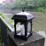 Outdoor Solar Simulation Candle Light Garden Solar Hanging Lamp(Black)