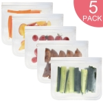 5 in 1 Translucent Frosted PEVA Food Preservation Bag Refrigerator Food Storage Bag Self-Sealing Food Bag Set(NO.1×5)