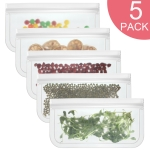 5 in 1 Translucent Frosted PEVA Food Preservation Bag Refrigerator Food Storage Bag Self-Sealing Food Bag Set(NO.2×5)