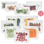 12 in 1 Translucent Frosted PEVA Food Preservation Bag Refrigerator Food Storage Bag Self-Sealing Food Bag Set(NO.1×7+NO.2×5)