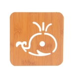 20 PCS Wooden Insulation Pad Mesh Pad Kitchen Hollow Dish Pan Cushion Large Placemat (Whale)
