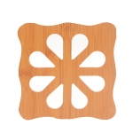 20 PCS Wooden Insulation Pad Mesh Pad Kitchen Hollow Dish Pan Cushion Large Placemat (Square Plum)