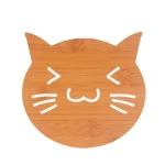 20 PCS Wooden Insulation Pad Mesh Pad Kitchen Hollow Dish Pan Cushion Large Placemat (Cat)