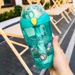 Cute Cartoon Fruit Stirring Cup Child Portable Plastic Straw Cup(Kiwi Green)