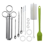 Stainless Steel Spice Syringe Barbecue Tool Turkey Needle Set(Green)