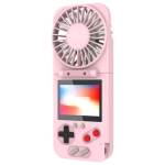 K18 2 in 1 Pocket Game Console + Folding Fan USB Mini Color Screen Game Console(Pink)