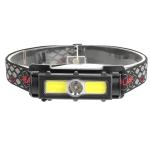 T45 Mini Multi-Function Magnet Red Light Strong Headlight USB Outdoor Lightweight Headlight(Black)