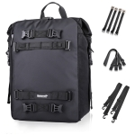 Rhinowalk Multi-Function Motorcycle Rear Seat Bag Combination Rear Shelf Pannier, Colour: Black 30L