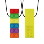 2 PCS Silicone Baby Building Block Teether Autistic Children Molar Stick, Colour: Yellow