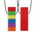 2 PCS Silicone Baby Building Block Teether Autistic Children Molar Stick, Colour: Red