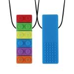 2 PCS Silicone Baby Building Block Teether Autistic Children Molar Stick, Colour: Blue