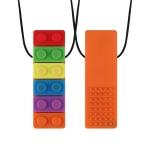 2 PCS Silicone Baby Building Block Teether Autistic Children Molar Stick, Colour: Orange