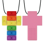 2 PCS Silicone Baby Building Block Teether Autistic Children Molar Stick, Colour: Pink Two