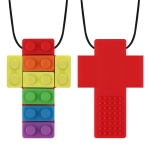 2 PCS Silicone Baby Building Block Teether Autistic Children Molar Stick, Colour: Red Two