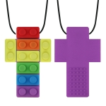 2 PCS Silicone Baby Building Block Teether Autistic Children Molar Stick, Colour: Purple Two